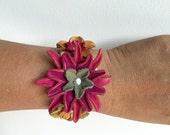 Leather flower bracelet