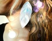 JEM - Iridescent Earrings, Feather Earrings, Hologram Earrings, Iridescent Jewelry, Boho Jewelry, 80s Inspired, Big Feather Earrings