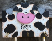 COW KEY RACK Holder Cute Country wood crafts Kitchen Hallway decor
