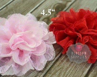 """The Ali Collection - 4.5"""" Flowers - Shabby Chiffon and Lace Puff Flowers - Available in Light Pink & Red - DIY Rose Headband Clip Wedding"""