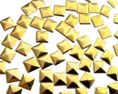 Gold Square Pyramid Studs, Iron On Studs, Hot Fix Pyramids, Glue On Cabochons  4 mm