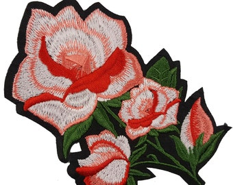 Embroidered Red Flowers Roses Patches Appliques