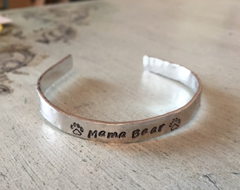 Mama Bear bracelet. Hand stamped bracelet. Custom. Mothers jewelry. Gift for her. New mom gift. Mama bird. Momma bear. Mother's day gift