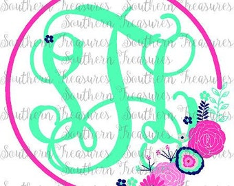 Navy, PInk and Mint Floral monogram frame printed HEAT TRANSFER monogram or DECAL