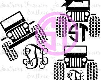 Jeep monogram frame Editable vector Cut File  .eps .ai and .pdf formats included INSTANT download