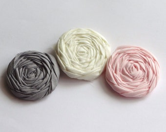 Ivory, Pink and Gray Fabric Rosettes Embellishment