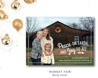 Market Fair Printed Holiday Card | Peace, Love and Joy | Southern Christmas Card | Printed or Printable by DarbyCards
