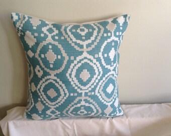 "Modern handmade 16"" duck egg blue, beige, cream aztec ushion cover, pillow, pillow case, scatter cushion."