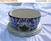 15% OFF Vintage Hand Painted Blue Oval Dish with Pewter Base, Pewterart, Porcelain, Planter