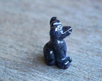 Blue Goldstone Stone Dog Figurine F9