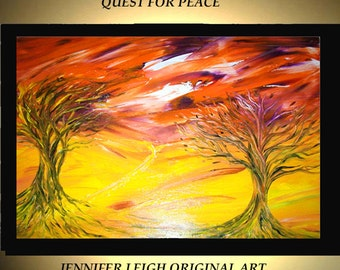 Original Large Abstract Painting Modern Acrylic Painting Oil Painting Canvas Art Orange Yellow Trees Sunset 36x24 Textured Wall Art  J.LEIGH