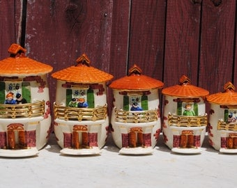 Set of 5 vintage ceramic French kitchen canisters jars spice hand painted storage jars - house shaped moulin mill - in very good condition