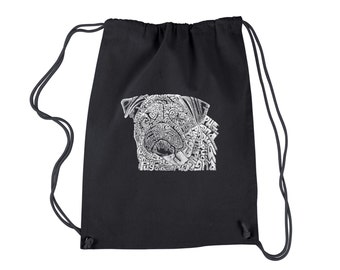 Drawstring Backpack - Pug Face Created using the word Pug