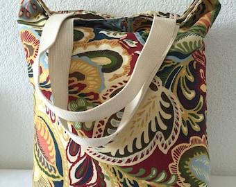 Shopping Bag-Tote Bag-Grocery Bag-Reversible Bag-Reusable Bag-Farmers Market Bag-Beach Bag-Large Cotton Shoulder Strap Bag