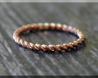 14k Rose Gold Filled Twisted Ring, 14k Rose Gold Stacking Ring, 14k Rose Gold Filled Twist Ring, Rose Gold Wedding Band, Layering Ring