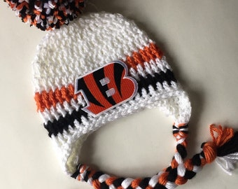 Cincinnati Bengals baby beanie with ear flaps and pom pom