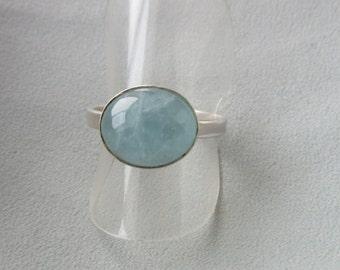 Blue Topaz cabochon ring - Handmade ring - Size 8 (*)