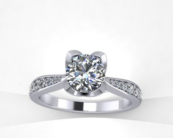 0.20ct diamonds engagement ring with 6.5mm round moissanite center,style 136WDM