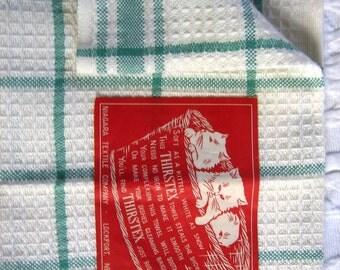 Kittens Label Towel Tea Towel Mid Century Niagara Vintage Kitchen Towel Green White Waffle Cotton Kittens Label Unused Niagara Fabric Tag