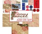 Journaling Kit - AddOn Vintage Parcel - 5 journaling pages - art journal kit, junk journal cover, junk paper pack, digital paper pack