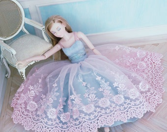 Winter Rose 3 piece set for Momoko . pink embroidered tulle skirt, duck egg blue silk habotae petticoat and silk teddy