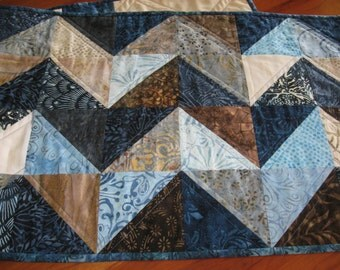 Quilted Table Runner, Blue and Brown Batiks, Zig-Zag