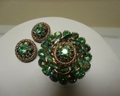 Vintage Peridot Green AB Rhinestone Brooch & Earrings Gold Tone 1950's - 60's
