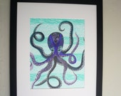 Octopus art, pen and ink drawing, sea life, Colorful framed original art, purple Octopus, fantasy art