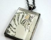 Zebra pendant, Wearable art, Art necklace, glass pendant , art jewelry, photo necklace, black and white Zebra pendant