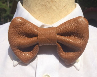 Leather Brown Bowtie (groomsman approved)