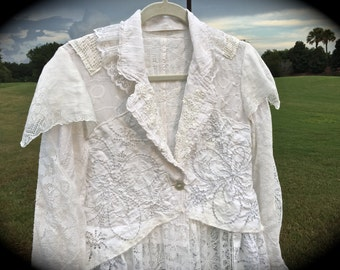 Izzy Roo Romantic Sugar White Shabby Lace Coat French Street Style Rustic Tattered Beauty OOAK