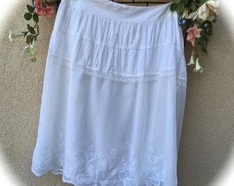Bohemian Romance White Layered Skirt