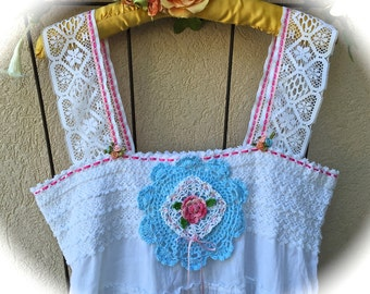 Fairy Tale BohoSugar Roses  Cami Dress/Top Mori Style Darling  Shabby Chic Sweet Size Medium