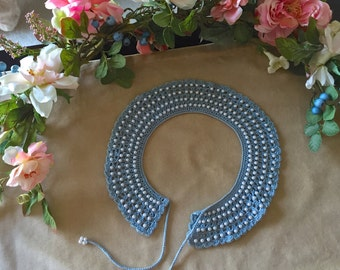 1950's  Vintage Peggy Sue Blue Crochet Collar With faux Pearls Immaculate OOAK