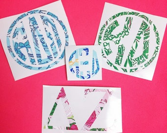 Lilly Print Inspired Sorority Greek Monogram Vinyl Decal