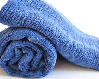 Turkish Towel set Peshtemal towel and hand towel Stone washed in blue genuine hand loomed