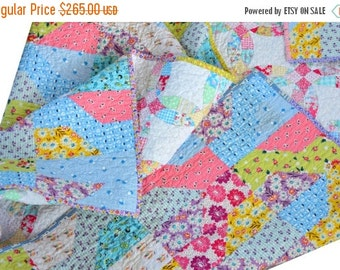 HURRY FLASH SALE Pink Lap Quilt - Baby Bedding - 30s Fabric
