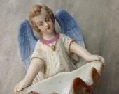 Bisque Angel Benitier, French Circa 1900.