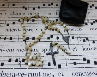 Antique Rosary Mother of Pearl, Childs, With Leather Pouch. French Circa 1900