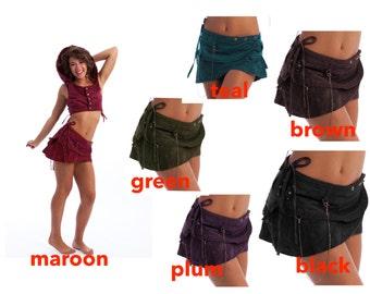 PIXIE skirt, ASSORTED COLOURS - psytrance skirt, elf skirt, ethnic skirt, goa Skirt, wrap Skirt, Pixie Mini Skirt, Llskfc