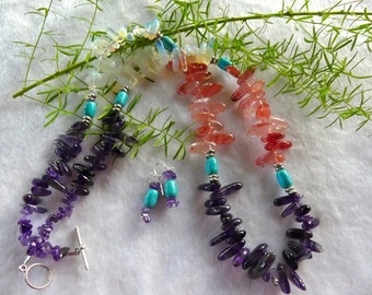31 Inch Southwestern Amethyst and Cherry Quartz Stick Bead Necklace with Earrings