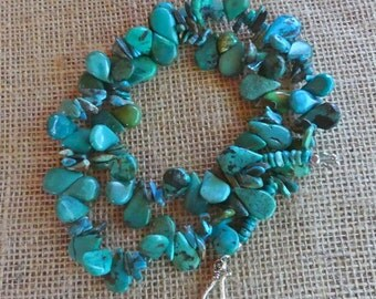 REDUCED!  27 Inch High Quality Natural Arizona Mined Natural Teal Green Turquoise Teardrop Necklace
