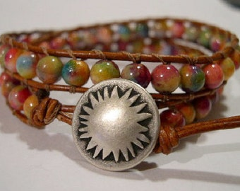 Bracelet, Beaded double Wrap, Leather Wrap Bracelet - 864