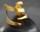 FLAMES WRAP RING Hammered Brass Ring - Unisex - Adjustable Band