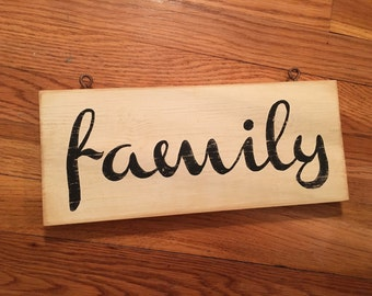 Family sign/custom color sign/hand painted sign/farmhouse style sign/distressed wooden sign/family room sign
