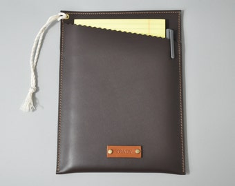 Personalized Leather Notepad Sleeve - monogram leather legal pad sleeve, legal pad case, brown leather case for legal pad,portfolio,A5 pad