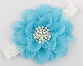 Headband baby toddler girl gift baby shower photo prop flowers christening baptism