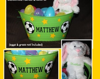 Personalized Easter Basket AND Bunny - SOCCER