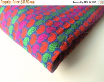 ON SALE Pink orange green neon velvet paisley silk brocade India silk brocade fabric nr 359 fat quarter