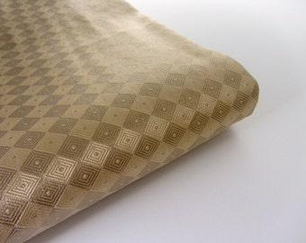 Beige Gold geometric Indian silk brocade fabric nr 686 fat quarter  - 1/4 yard